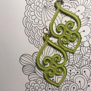 Lime green acrylic earrings